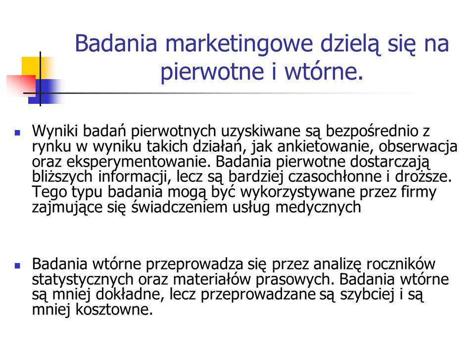 Badania marketingowe dzielą się na pierwotne i wtórne.