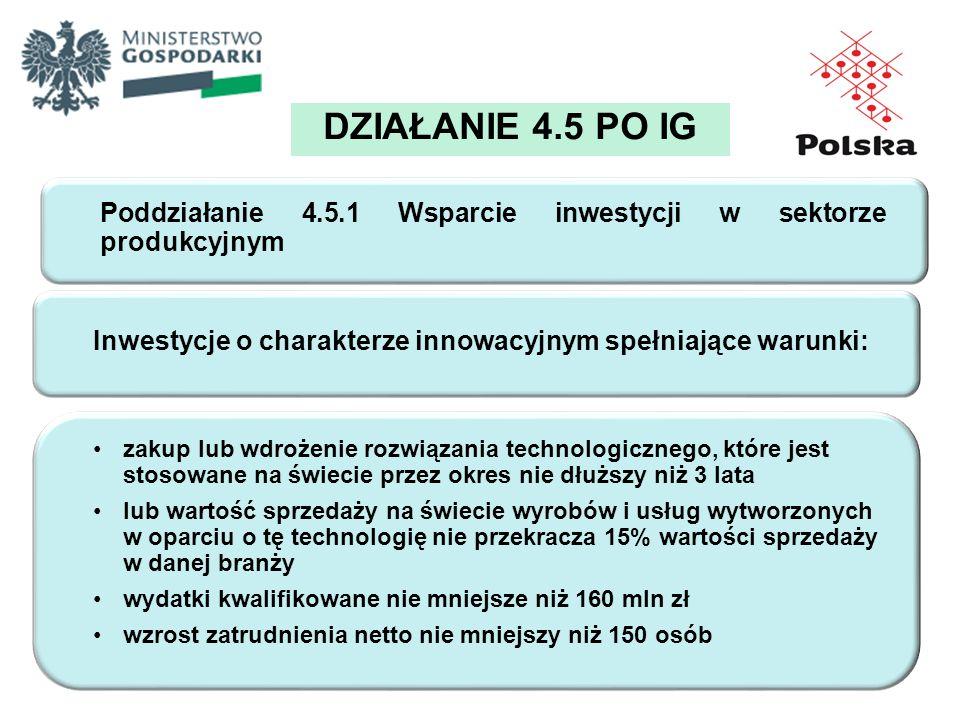 DZIAŁANIE 4.5 PO IG Poddziałanie 4.5.1 Wsparcie inwestycji w sektorze produkcyjnym. Inwestycje o charakterze innowacyjnym spełniające warunki: