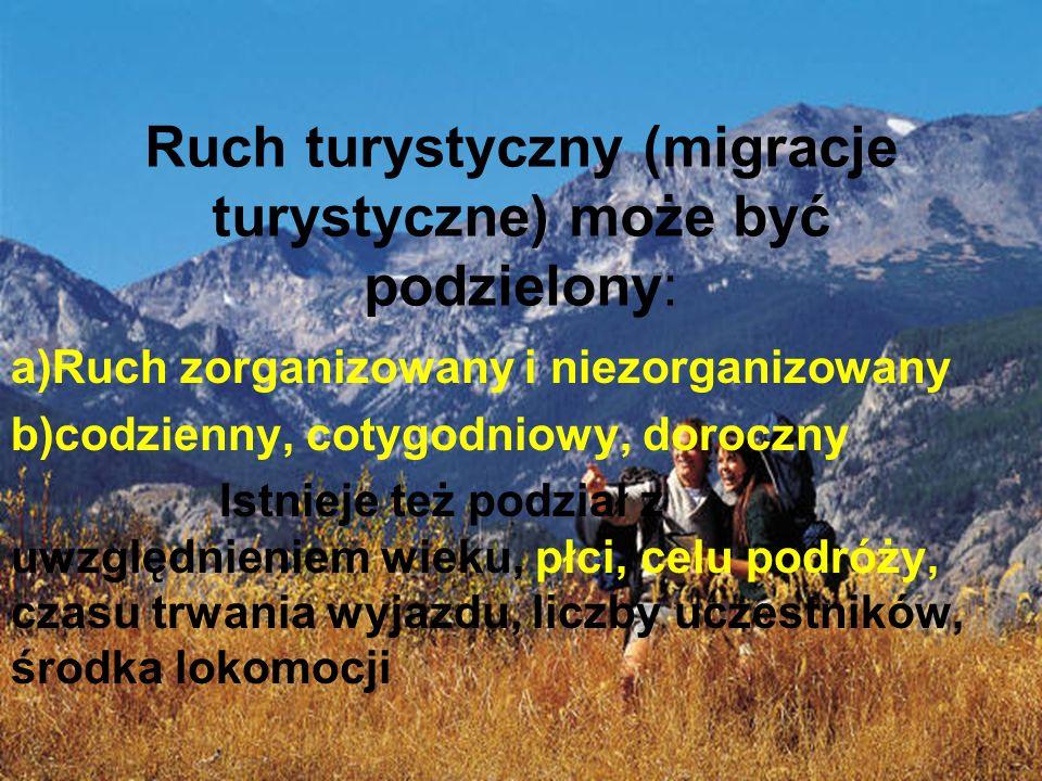 Ruch turystyczny (migracje turystyczne) może być podzielony: