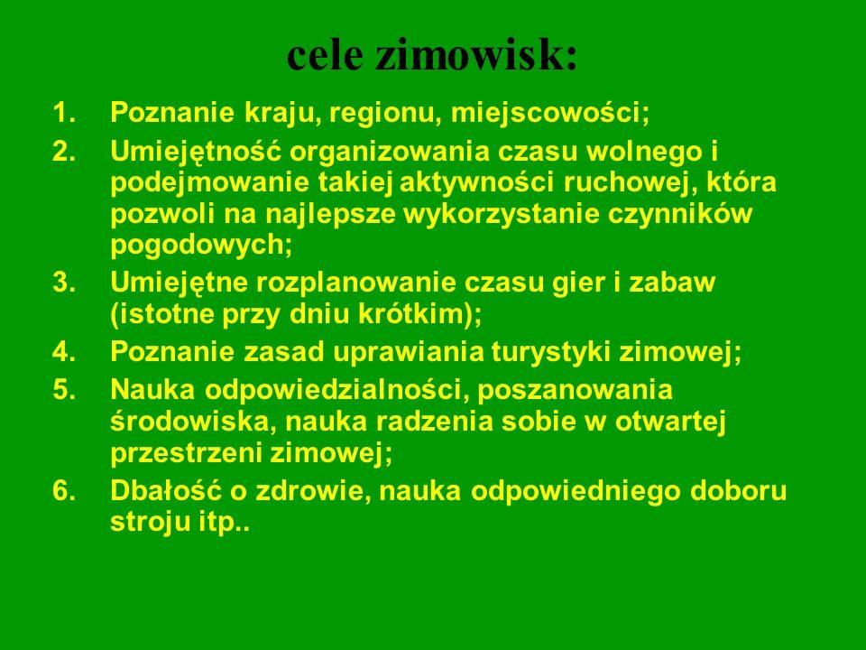 cele zimowisk: Poznanie kraju, regionu, miejscowości;