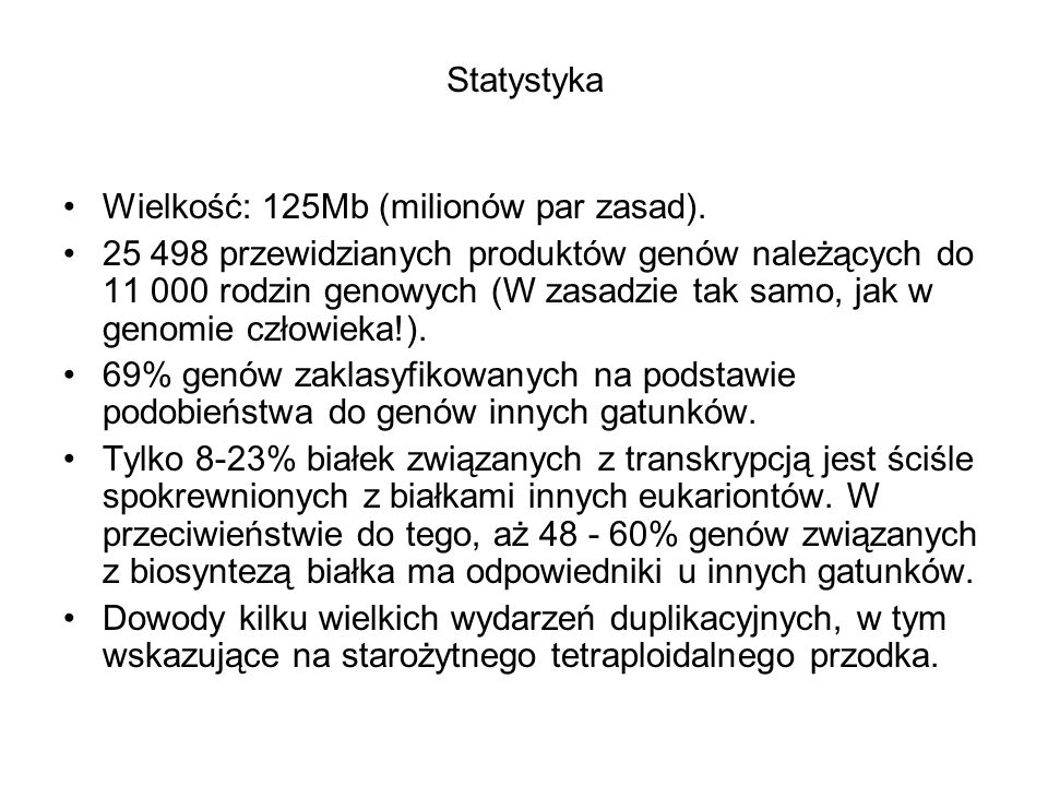 Statystyka Wielkość: 125Mb (milionów par zasad).