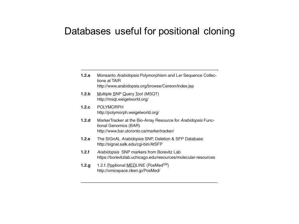 Databases useful for positional cloning