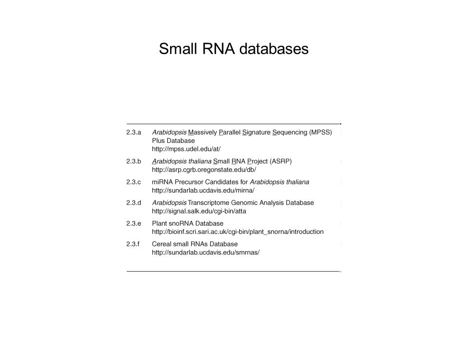 Small RNA databases