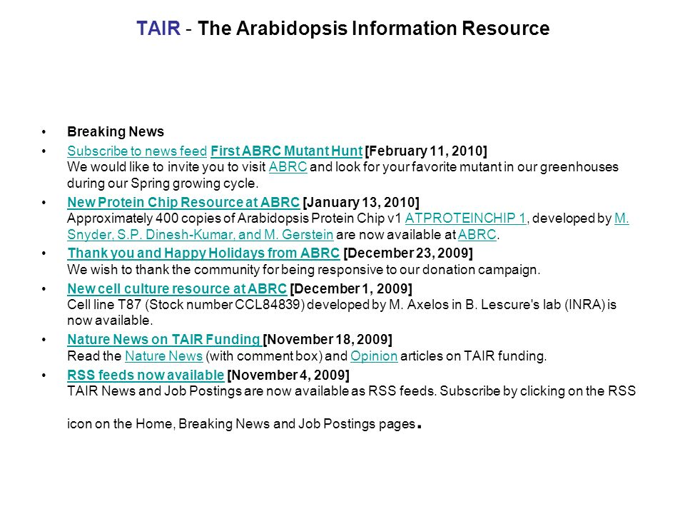 TAIR - The Arabidopsis Information Resource