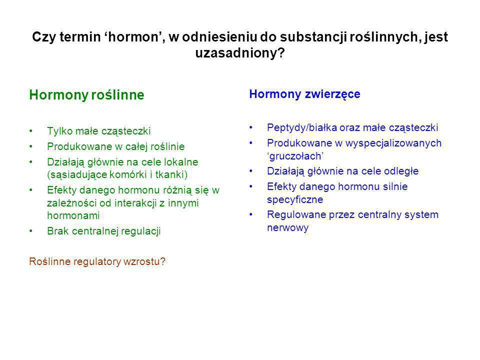 Czy termin 'hormon', w odniesieniu do substancji roślinnych, jest uzasadniony