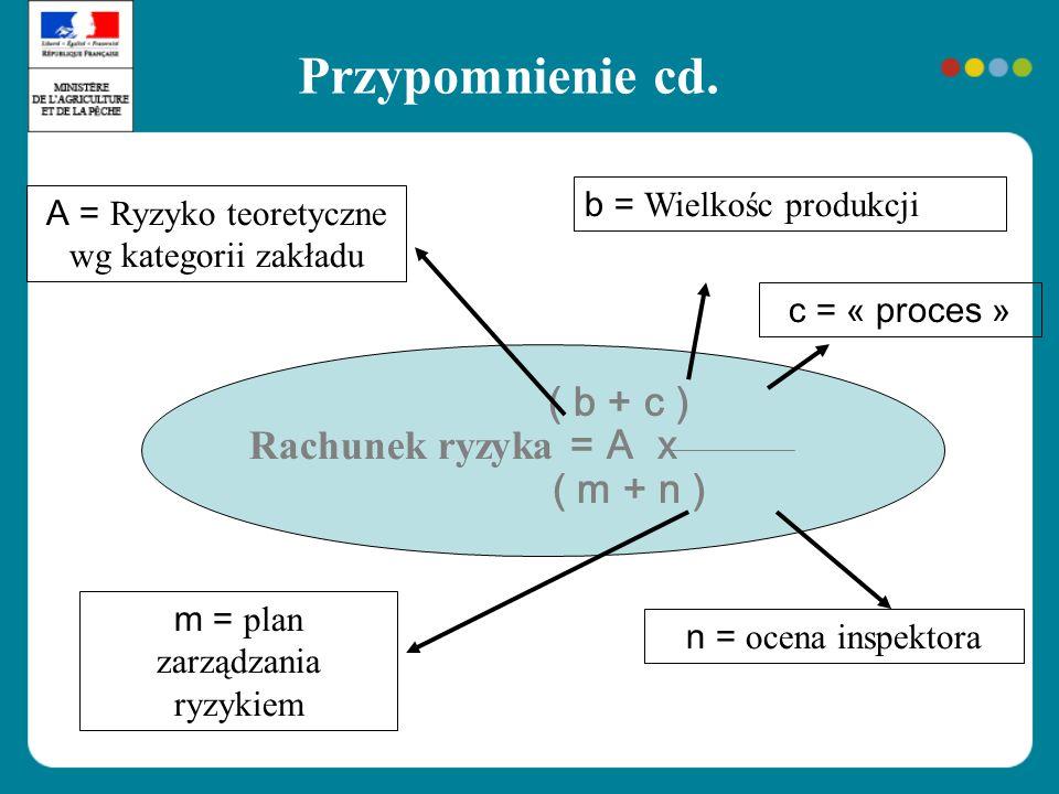 Przypomnienie cd. Rachunek ryzyka = A x ( m + n )