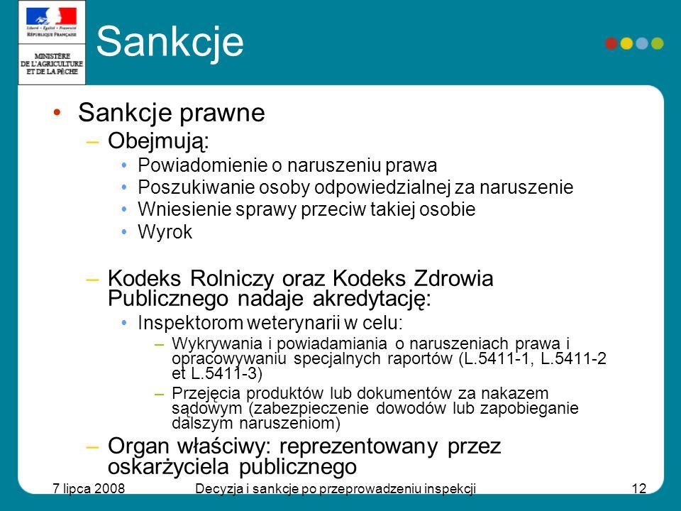 Decyzja i sankcje po przeprowadzeniu inspekcji