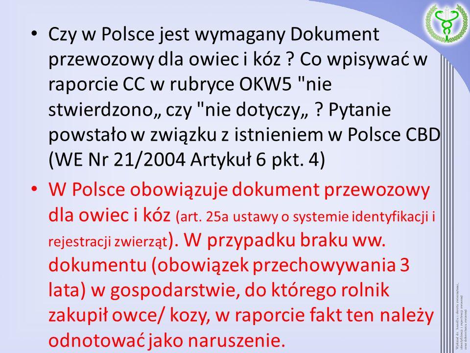 Czy w Polsce jest wymagany Dokument przewozowy dla owiec i kóz