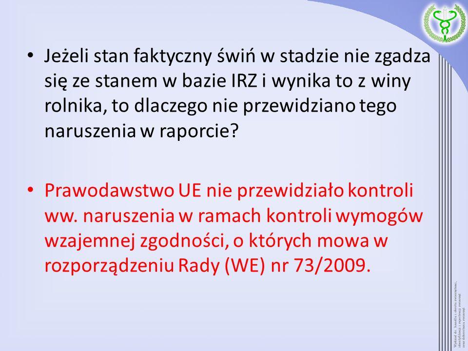 Jeżeli stan faktyczny świń w stadzie nie zgadza się ze stanem w bazie IRZ i wynika to z winy rolnika, to dlaczego nie przewidziano tego naruszenia w raporcie