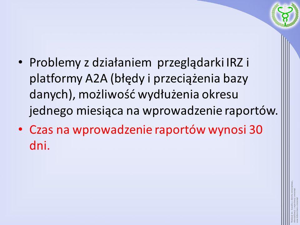 Problemy z działaniem przeglądarki IRZ i platformy A2A (błędy i przeciążenia bazy danych), możliwość wydłużenia okresu jednego miesiąca na wprowadzenie raportów.
