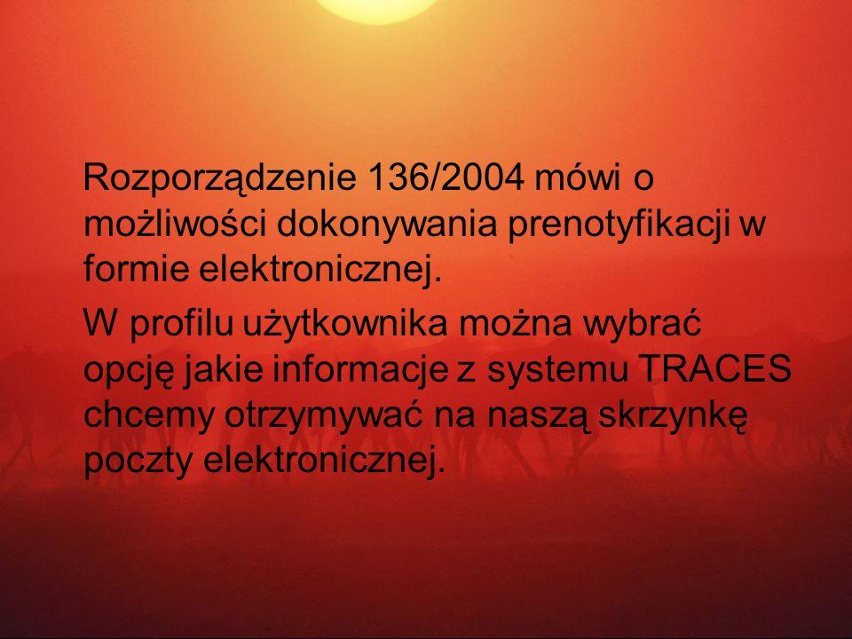 Rozporządzenie 136/2004 mówi o możliwości dokonywania prenotyfikacji w formie elektronicznej.
