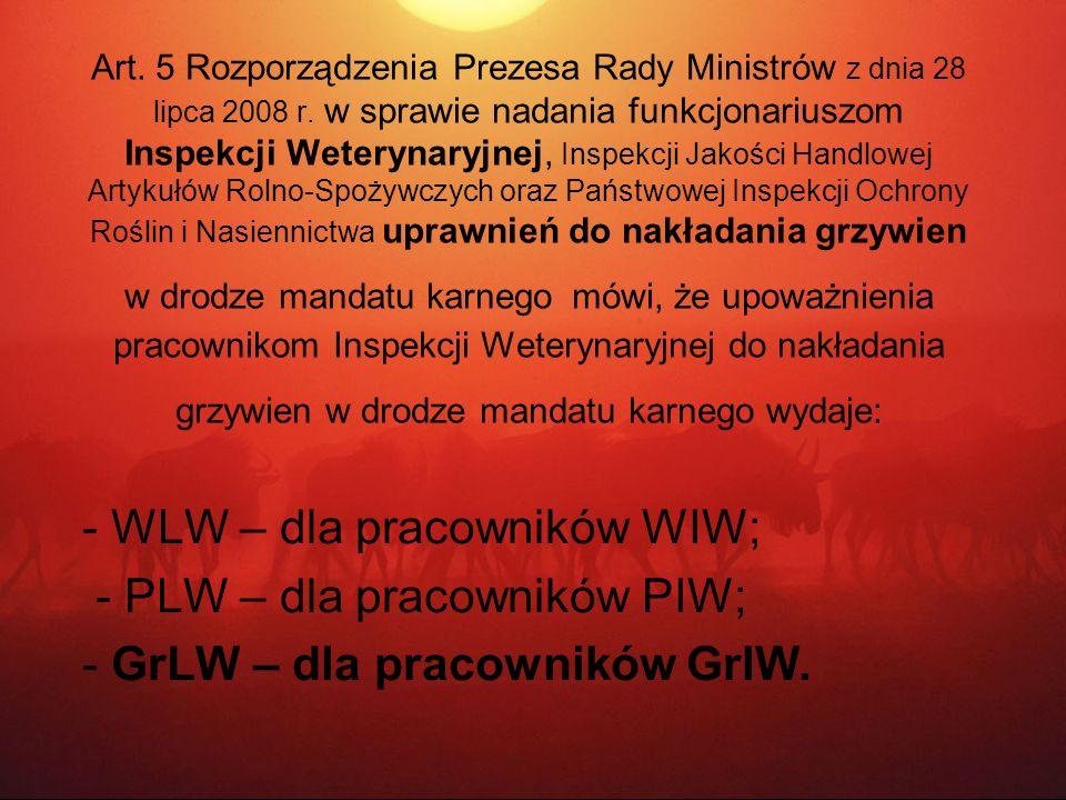 - WLW – dla pracowników WIW; - PLW – dla pracowników PIW;