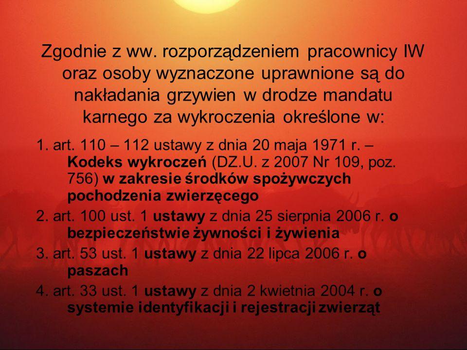 Zgodnie z ww. rozporządzeniem pracownicy IW oraz osoby wyznaczone uprawnione są do nakładania grzywien w drodze mandatu karnego za wykroczenia określone w: