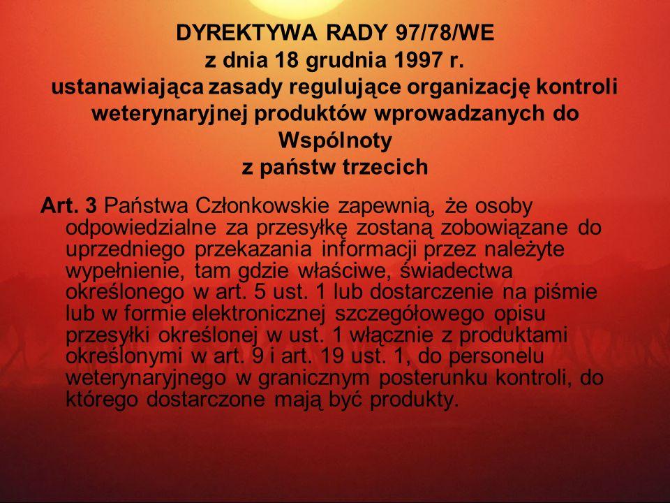 DYREKTYWA RADY 97/78/WE z dnia 18 grudnia 1997 r