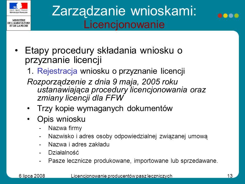 Zarządzanie wnioskami: Licencjonowanie