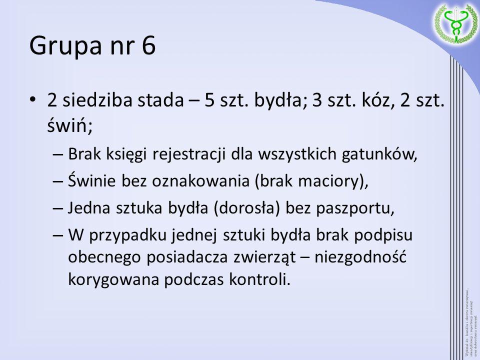 Grupa nr 6 2 siedziba stada – 5 szt. bydła; 3 szt. kóz, 2 szt. świń;