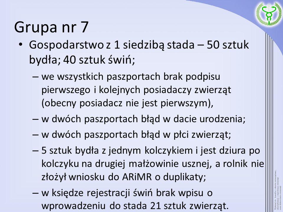 Grupa nr 7Gospodarstwo z 1 siedzibą stada – 50 sztuk bydła; 40 sztuk świń;