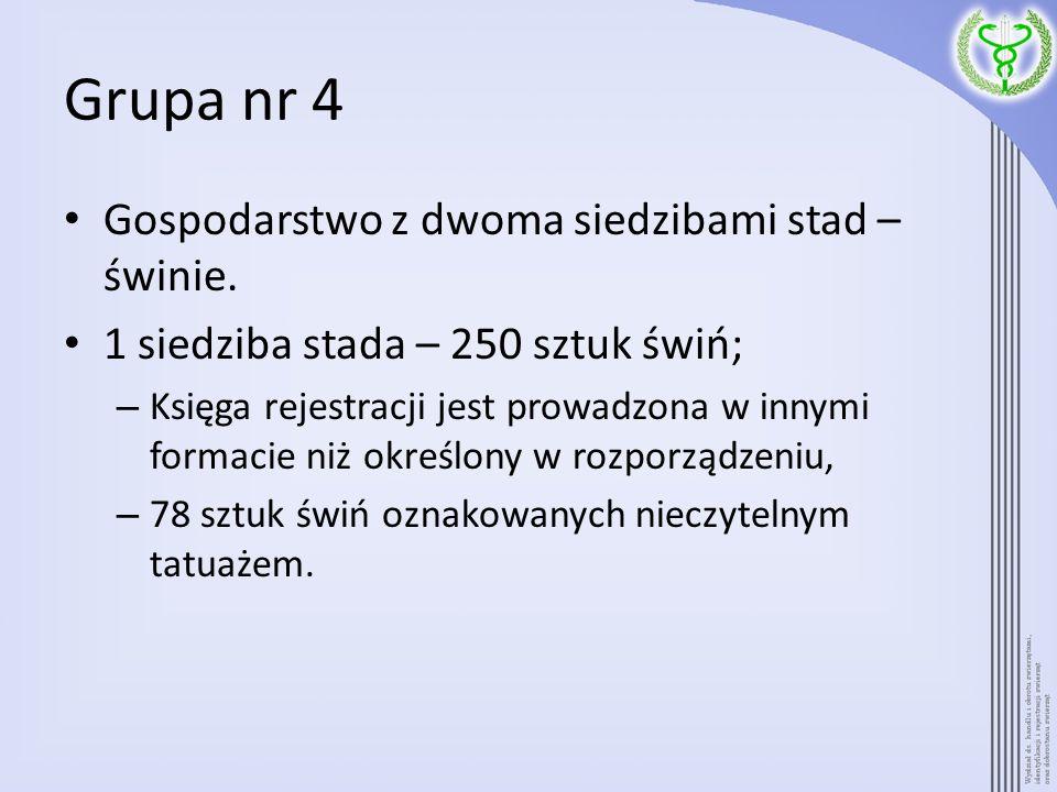 Grupa nr 4 Gospodarstwo z dwoma siedzibami stad – świnie.