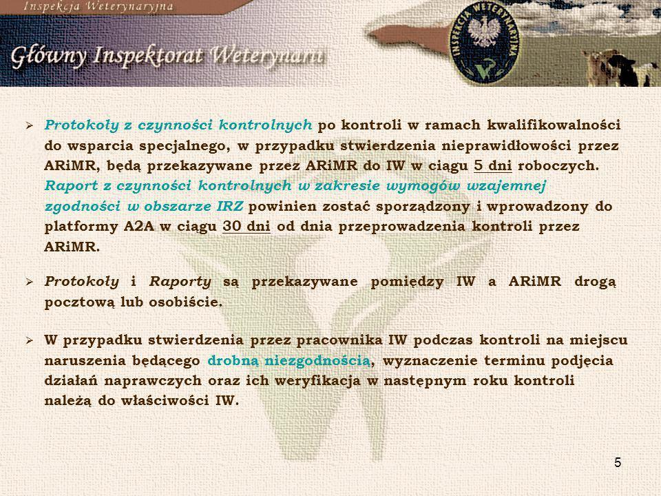 Protokoły z czynności kontrolnych po kontroli w ramach kwalifikowalności do wsparcia specjalnego, w przypadku stwierdzenia nieprawidłowości przez ARiMR, będą przekazywane przez ARiMR do IW w ciągu 5 dni roboczych. Raport z czynności kontrolnych w zakresie wymogów wzajemnej zgodności w obszarze IRZ powinien zostać sporządzony i wprowadzony do platformy A2A w ciągu 30 dni od dnia przeprowadzenia kontroli przez ARiMR.