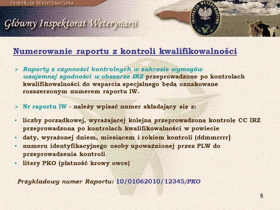 Numerowanie raportu z kontroli kwalifikowalności
