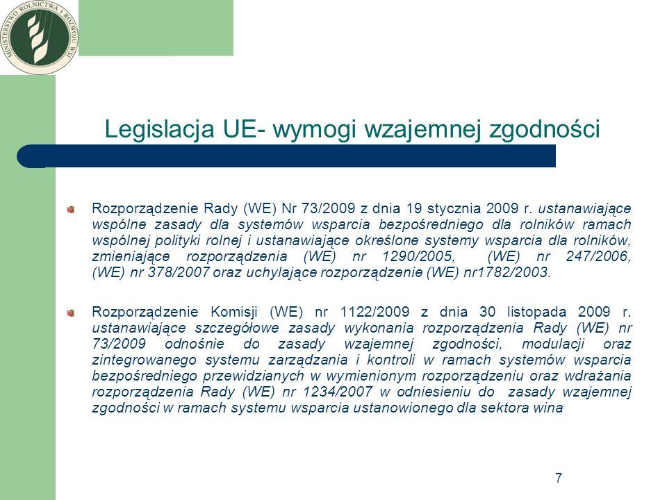 Legislacja UE- wymogi wzajemnej zgodności