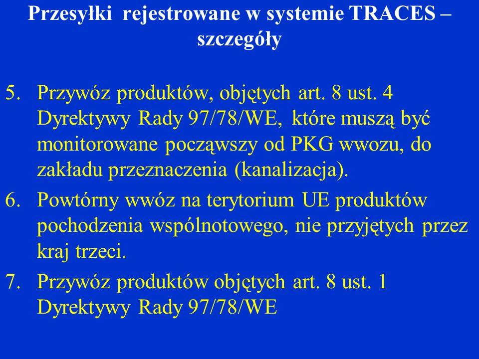 Przesyłki rejestrowane w systemie TRACES – szczegóły