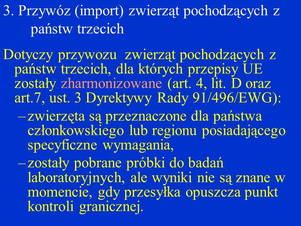 3. Przywóz (import) zwierząt pochodzących z państw trzecich