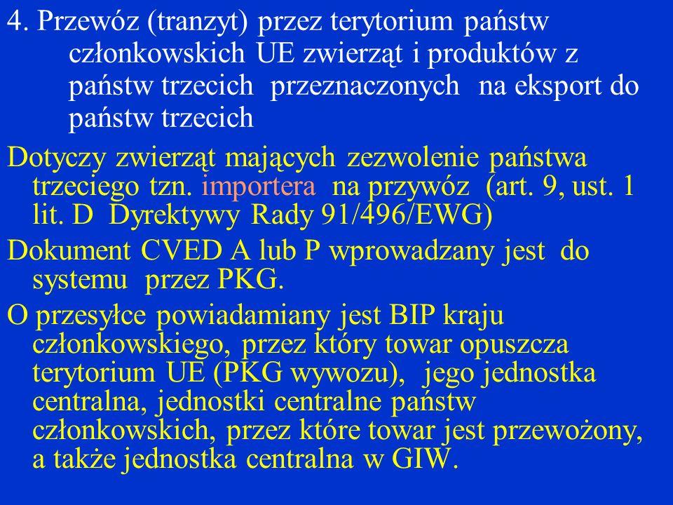 4. Przewóz (tranzyt) przez terytorium państw członkowskich UE zwierząt i produktów z państw trzecich przeznaczonych na eksport do państw trzecich