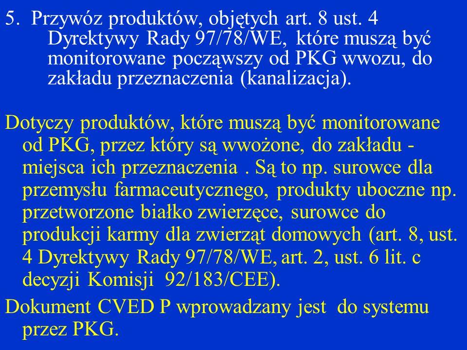5. Przywóz produktów, objętych art. 8 ust