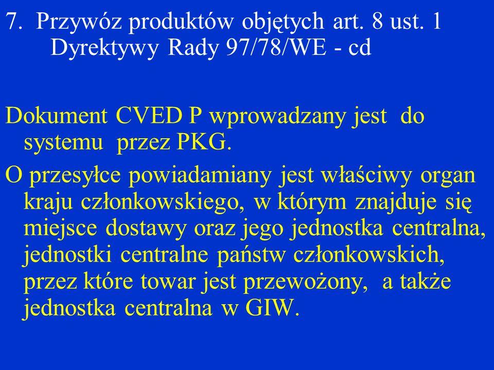 7. Przywóz produktów objętych art. 8 ust