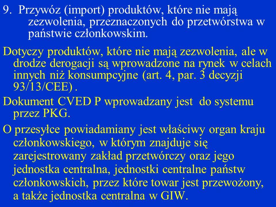 9. Przywóz (import) produktów, które nie mają zezwolenia, przeznaczonych do przetwórstwa w państwie członkowskim.