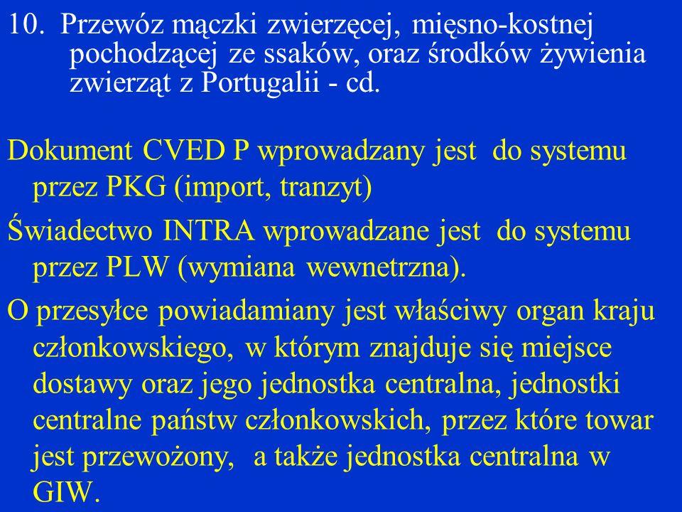 10. Przewóz mączki zwierzęcej, mięsno-kostnej pochodzącej ze ssaków, oraz środków żywienia zwierząt z Portugalii - cd.