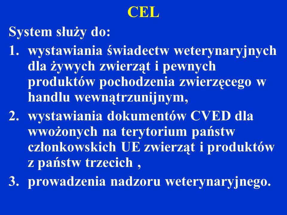 CEL System służy do: wystawiania świadectw weterynaryjnych dla żywych zwierząt i pewnych produktów pochodzenia zwierzęcego w handlu wewnątrzunijnym,