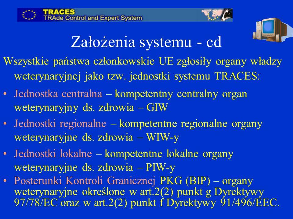 Założenia systemu - cd Wszystkie państwa członkowskie UE zgłosiły organy władzy weterynaryjnej jako tzw. jednostki systemu TRACES: