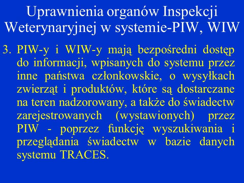 Uprawnienia organów Inspekcji Weterynaryjnej w systemie-PIW, WIW