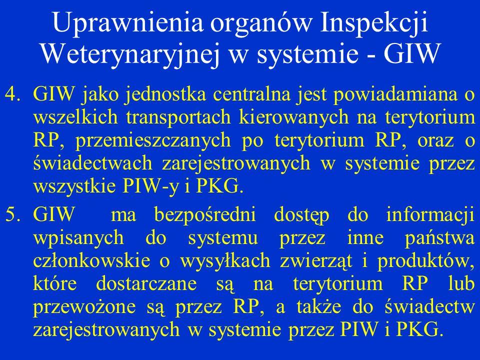 Uprawnienia organów Inspekcji Weterynaryjnej w systemie - GIW