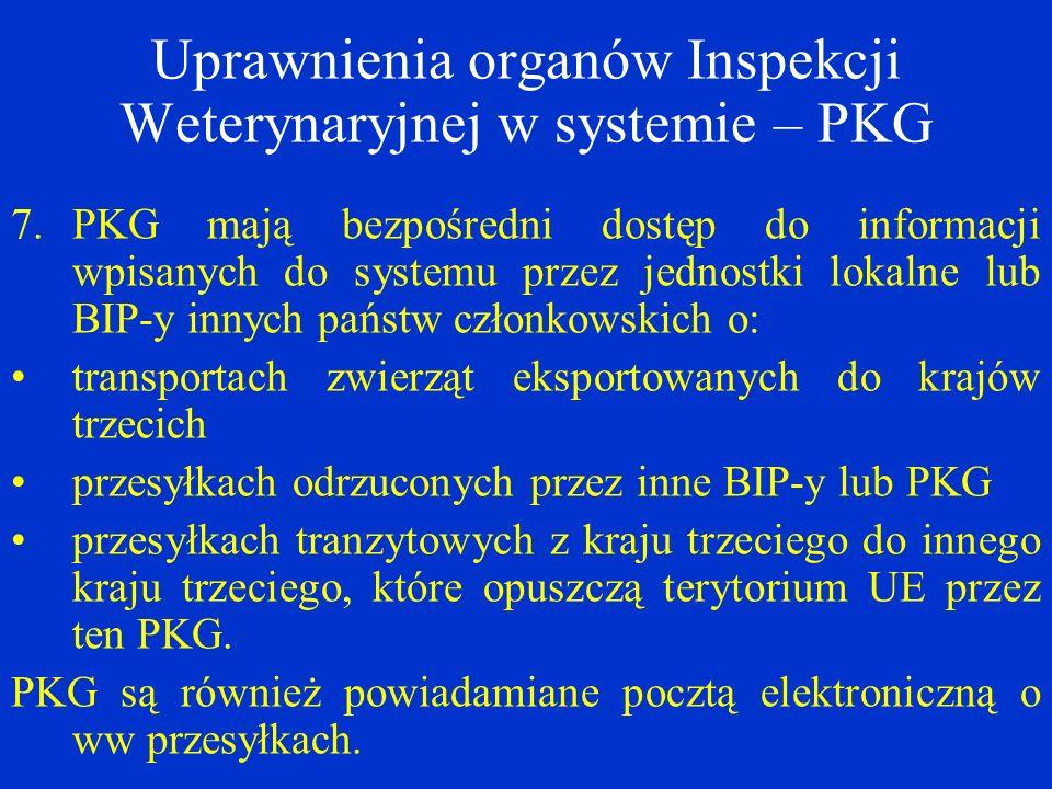 Uprawnienia organów Inspekcji Weterynaryjnej w systemie – PKG