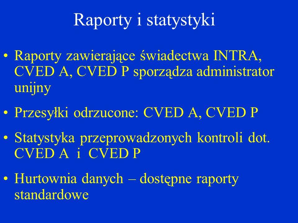 Raporty i statystyki Raporty zawierające świadectwa INTRA, CVED A, CVED P sporządza administrator unijny.