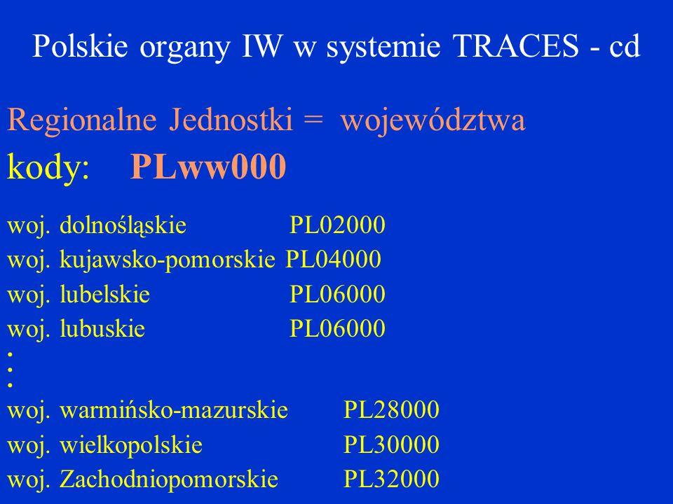 Polskie organy IW w systemie TRACES - cd