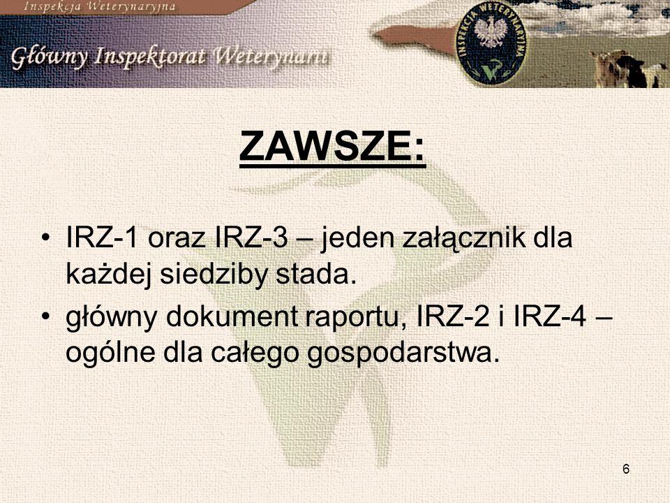 ZAWSZE: IRZ-1 oraz IRZ-3 – jeden załącznik dla każdej siedziby stada.