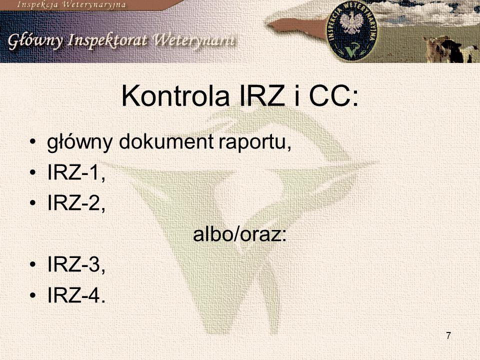 Kontrola IRZ i CC: główny dokument raportu, IRZ-1, IRZ-2, albo/oraz: