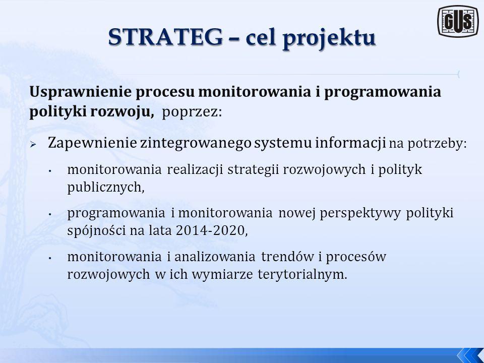 STRATEG – cel projektu Usprawnienie procesu monitorowania i programowania polityki rozwoju, poprzez: