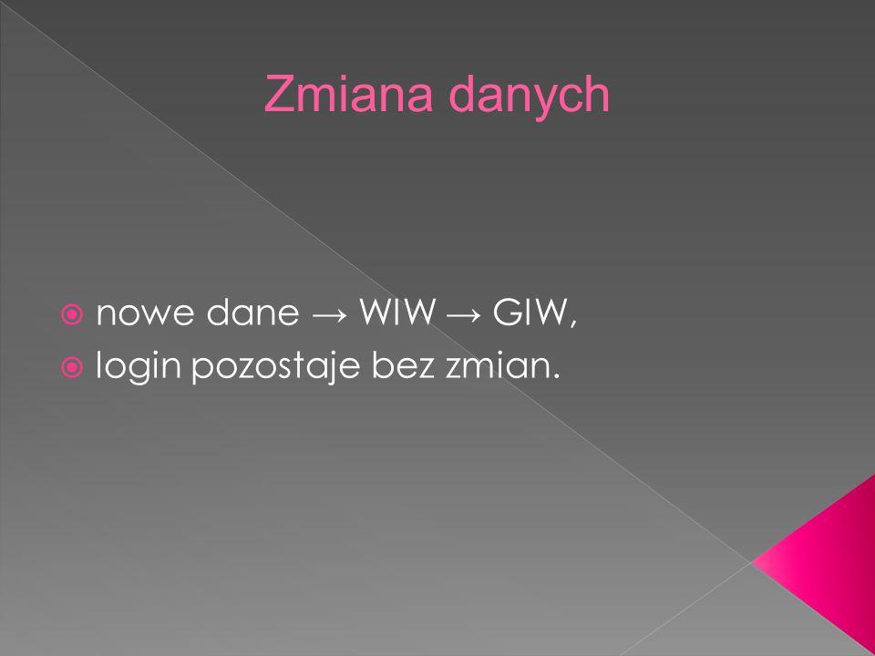 Zmiana danych nowe dane → WIW → GIW, login pozostaje bez zmian.