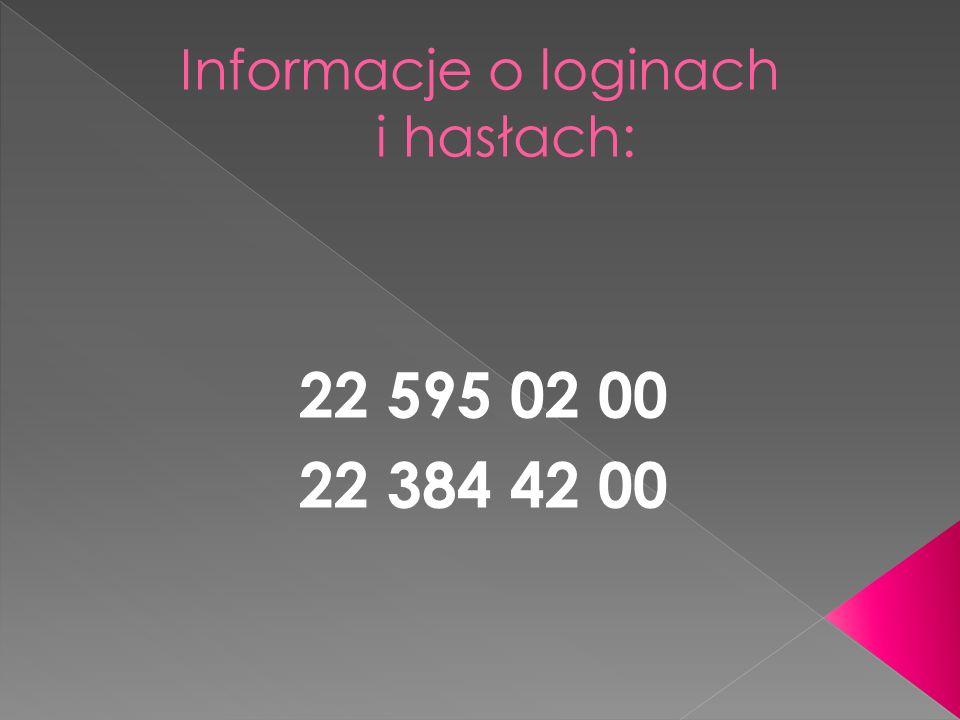 Informacje o loginach i hasłach: