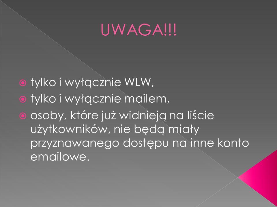 UWAGA!!! tylko i wyłącznie WLW, tylko i wyłącznie mailem,