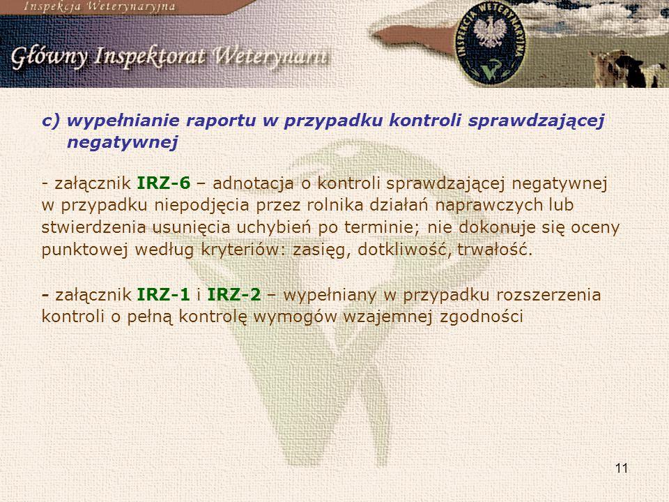 c) wypełnianie raportu w przypadku kontroli sprawdzającej negatywnej