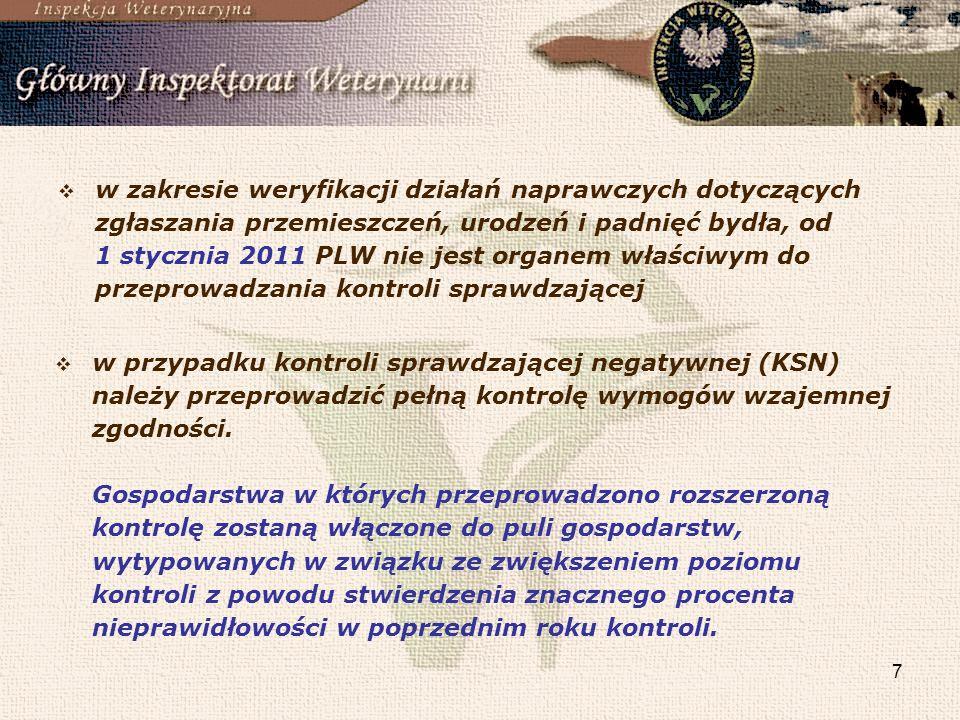 w zakresie weryfikacji działań naprawczych dotyczących zgłaszania przemieszczeń, urodzeń i padnięć bydła, od 1 stycznia 2011 PLW nie jest organem właściwym do przeprowadzania kontroli sprawdzającej