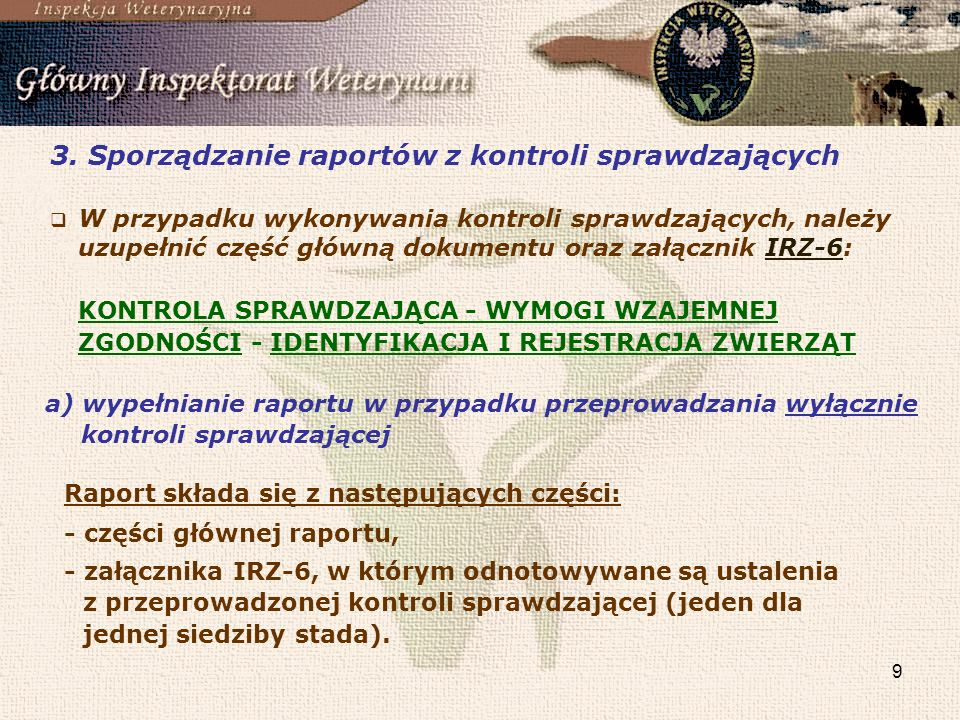 3. Sporządzanie raportów z kontroli sprawdzających