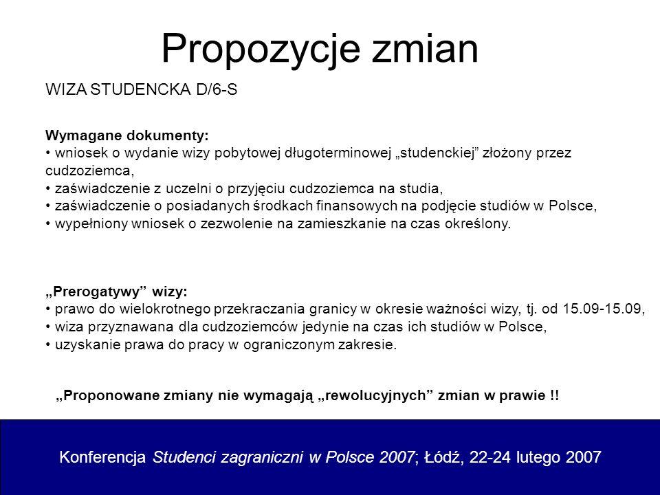 Propozycje zmian WIZA STUDENCKA D/6-S