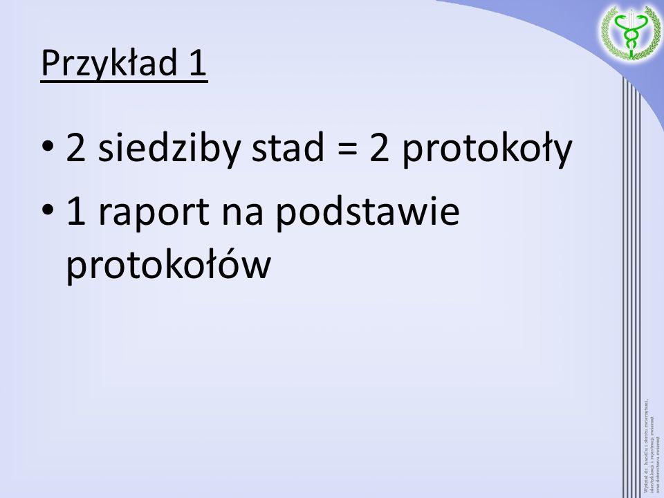 2 siedziby stad = 2 protokoły 1 raport na podstawie protokołów